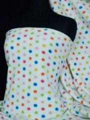 Polar Fleece Anti Pill Washable Soft Fabric- Cream/Multi Polka Dots Q863 CRMLT