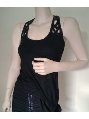 Sequin Racer-Back Black Vest Top- Black