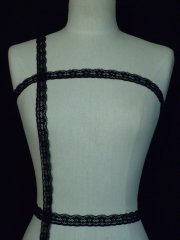 Black Stretch Scalloped Edge Lace Trim