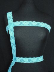 Aqua Blue Floral Lace Trim