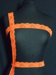 Orange Floral Lace Trim