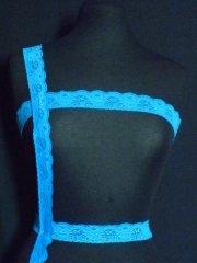 Turquoise Blue Floral Lace Trim