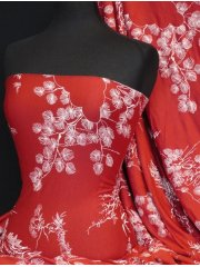 Viscose Cotton Stretch Lycra Fabric- Red/ White Japanese Garden Q1153 RDWHT
