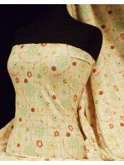 100% Cotton Interlock Knit Soft Jersey T-Shirt Fabric- Crazy Daisies Q1099 MLT