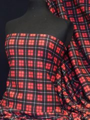 Single Jersey Knit 100% Light Cotton T-Shirt Fabric - Red/Black Tartan Q1129 RDBK