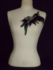 Black Silver Encrusted Feather Neck Piece