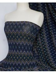 Slinky Shimmer Abstract 4 Way Stretch Fabric- Navy Q1180 NY