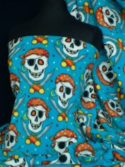 Polar Fleece Anti Pill Washable Soft Fabric- Turquoise Pirate Skull Q1083 TQS