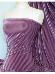 Velvet / Velour Burnout Stripe 4 Way Stretch Spandex Lycra- Grape Q1175 GRP