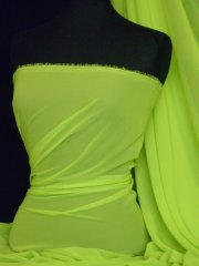Chiffon Soft Touch Sheer Fabric Material- Lime Green Q354 LMGRN