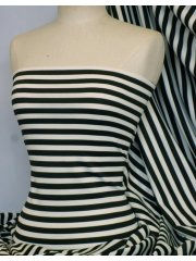 Ponte Double Knit 4 Way Stretch Jersey- Black/Ivory Horizontal Stripe Q1192 BKIV
