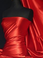 Super Soft Satin Stretch Fabric- Red Q710 RD