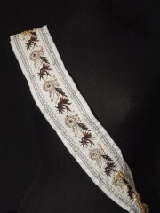 Ivory Beaded Ethnic Embroidered Trim