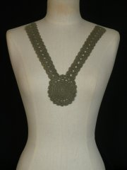Cotton Crochet Neck Piece- Khaki Green EM355 KHGR