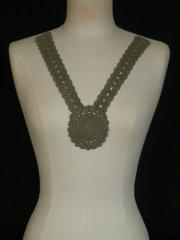 Khaki Green Cotton Crochet Neck Piece