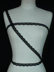 3 Metres Black Scalloped Cotton Trim
