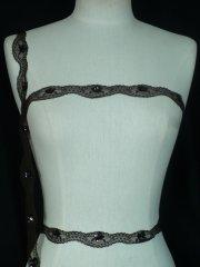 Dark Brown Sequin Scalloped Lace Trim