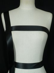 Black Satin Wide Ribbon Trim