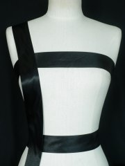 Black Satin Extra Wide Ribbon Trim