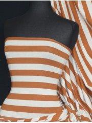 Single Jersey Knit 100% Light Cotton Stretch T-Shirt Fabric - Pumpkin Horizontal Stripe Q1234 PUMPK