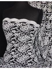 Lace Scalloped Lycra 4 Way Stretch Fabric- Ivory/Black Rose Q1170 IVBK