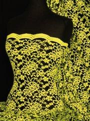 Lace Scalloped Lycra 4 Way Stretch Fabric- Neon Yellow/Black Rose Q1170 NYLBK
