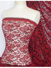 Rose 4 Way Stretch Lace Lycra Fabric- Red/Black Q1248 RDBK