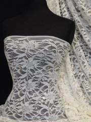 Lacey Lace Flower Stretch Sequins Fabric- Cream Q1164 CRM