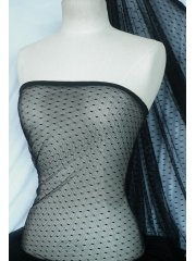 Sheer Diamond Dotted Net Fabric- Black Q1236 BK