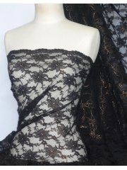 Lace Foil Cord Stretch Fabric- Black/Bronze Q1225 BKBRNZ