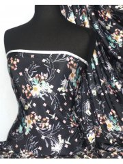 Silk Touch 4 Way Stretch Fabric- Teresa Flower Q1199 PNBK