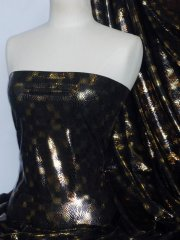 Foil Stretch Embossed Lycra Fabric- Snake Print Gold/Copper Q1222 SNK