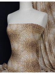 Peacock Sequins Stretch Lycra Fabric- Camel Q1263 CML
