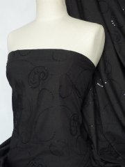 Poly Cotton Sequins Embroidered Material- Black Paisley Q1264 BK