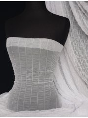 Shirring Power Mesh 4 Way Stretch Material- White Q1266 WHT