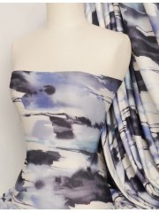 Poly Viscose Light Weight Sheer Fabric- Blue/White Tie Dye Q1272 BLWHT