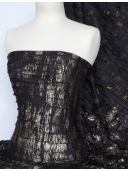 Frilly Ruffle Stretch Fabric- Black/ Gold Foil Q1155 BKGLD