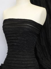 Frilly Ruffle Stretch Fabric- Black Q848 BK