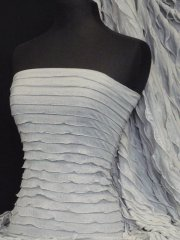 Frilly Ruffle Stretch Fabric- Silver Grey Q848 SLVGR