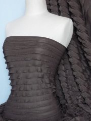 Frilly Ruffle Stretch Fabric- Chocolate Q168 CHO