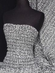 Frilly Ruffle Stretch Fabric- BlacK/Grey Q168 BKGY