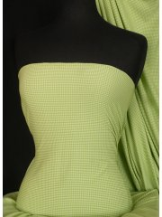 Lime Green Gingham 4 Way Stretch Jersey Fabric