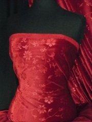 Velvet Spandex Stretch Fabric- Ruby Red Flowers Q1287 RBRD