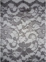 Grey Scalloped Stretch Lace Lycra Fabric