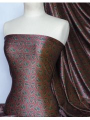 Velvet Velour Stretch Fabric- Red/Green Paisley Q1160 RDGRN