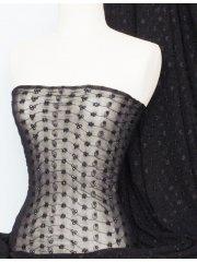 Helenka Mesh Broderie Anglaise Fabric- Black Q1049 BK