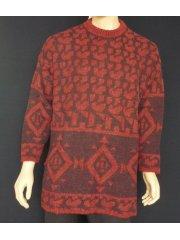 MEN'S Dark Red Pure Vintage Wool Abstract Jumper
