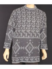 MEN'S Dark Blue Pure Vintage Wool Abstract Jumper