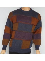 MEN'S Navy/Multi 100% Acrylic Jumper