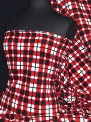 Polar Fleece Anti Pill Washable Soft Fabric- Red/White/Black Tartan Q1305 RDWHBK